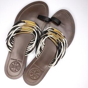 Tory Burch Dark Brown Toe Loop Flat Sandals